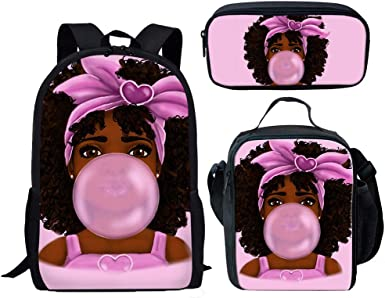 Cozeyat Afro Girls Print Backpack Set Middle School Bag 3D Print Lunch Box Pencil Case for Girls