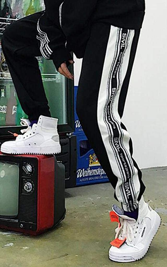 XiaoTianXinMen XTX Men Elastic Waist Hip Hop Active All Match Casual Relaxed Fit Jogging Pants Trousers