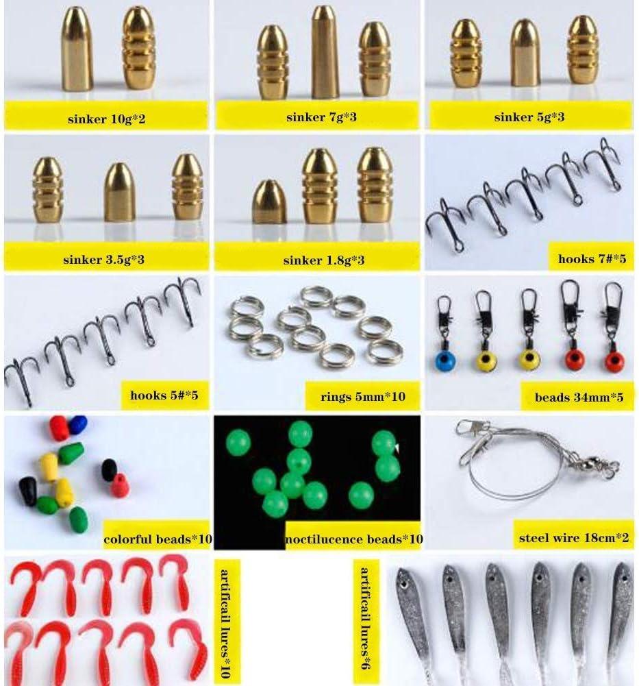 138Pcs Sea Fishing Accessories Tackle Kit Set Hooks Swivel Snaps Sinker Beads