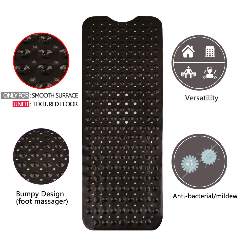 Clear Black Machine Washable 39x16In Latex Phthalate Free Ideal for Kids Baby Antibacterial BPA Extra Long Bath Tub Mat Nonslip Matts for Bathroom Wimaha Bathtub Mats Non Slip Mildew Resistant