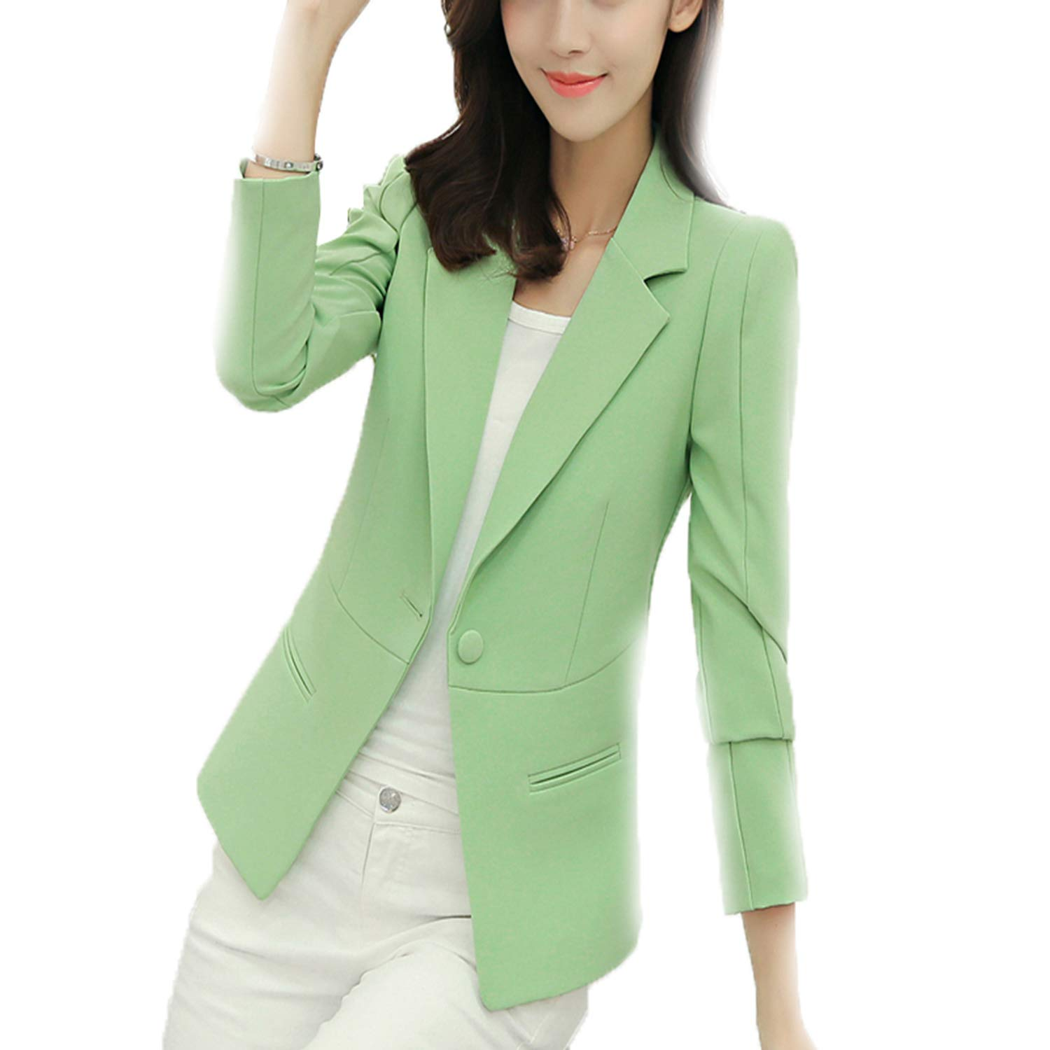 Molif Ladies Blazer Long Sleeve Blaser Women Suit Jacket Blazer Femme Pink Blazer Autumn Green R133 M