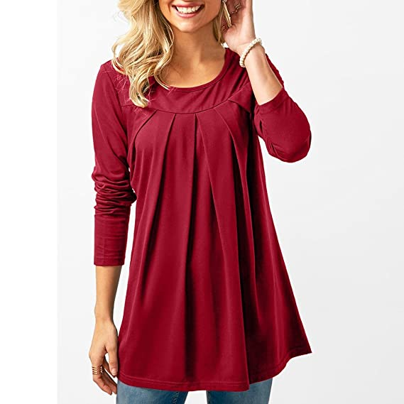 ❤ Modaworld Moda Blusa Sólida Casual Mujer Camiseta de Manga Larga Plisada Camisas Mujer Elegantes Tallas Grandes Camiseta Basica Mujer Otoño Outwear ...