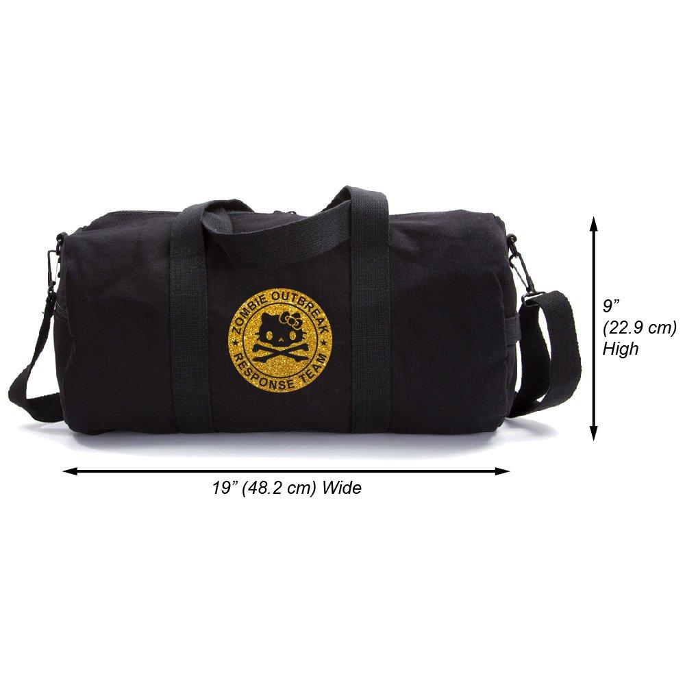 Zombie Outbreak Response Team Hello Kitty Duffel Bag, Black & Gold (medium)