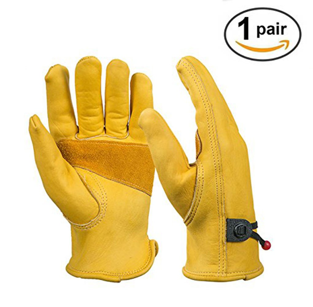 Heavy Duty Gardening Gloves for Men & Women,FUGVO Reinforced Rigger Gloves Thorn Proof Leather Work Gloves, Waterproof Slim-Fit Reinforced Rigger Gloves, Durable and Flexible 1 Pair (M)