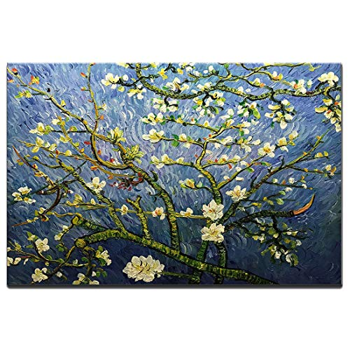- Amei Art Paintings,24x36 Inch Hand-Painted Van Gogh Famous Oil Painting Almond Blossom Flower Canvas Wall Art Abstract Floral Artwork Modern Home Decor Art Wood Inside Framed Ready to Hang for B