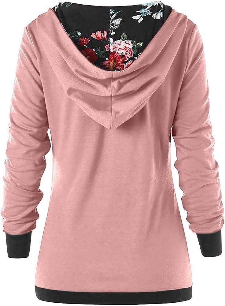 Sweats /à Capuche Femme Bouton imprim/é Hoodie Sport Sweat-Shirts Robe Pull Fille Sweat Capuche Grande Taille Veste /à Manches Longues Hiver Sweatshirt D/écontract/ée Hooded Manteau Swag Tops Coton