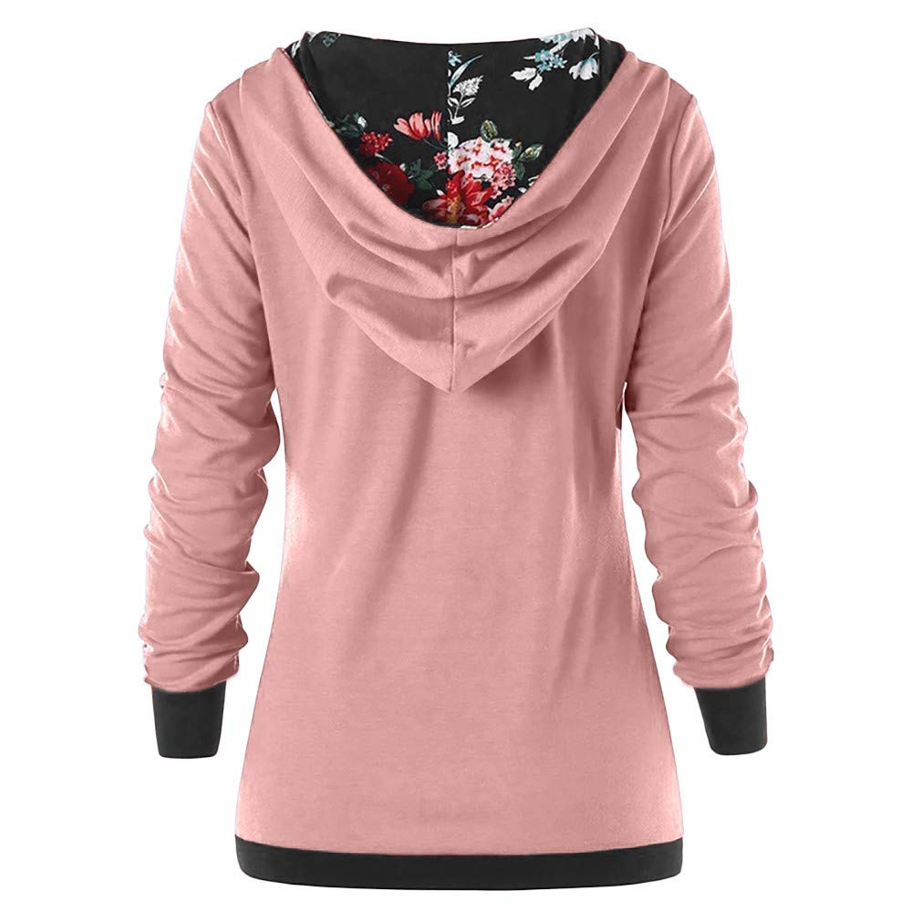 Amazon.com: Sunhusing Womens Long Sleeve Hoodie Autumn Button-Down Print Pleated Sweatshirt: Clothing