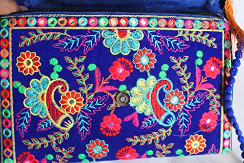 Indian Vintage Banjara Yellow Cotton Bags Blue Embroidery Purse Tribal Handmade Ethnic Clutch 1BrT1