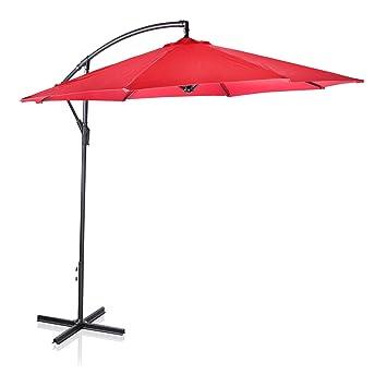 XL 10ft 3m Home Garden Outdoor Hanging Banana Cantilever Patio Sun Shade Parasol  Umbrella (Red