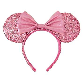 カチューシャ ミニー マウス ( ピンク スパンコール ) リボン ディズニー お揃い グッズ 可愛い かわいい ヘア アクセサリー