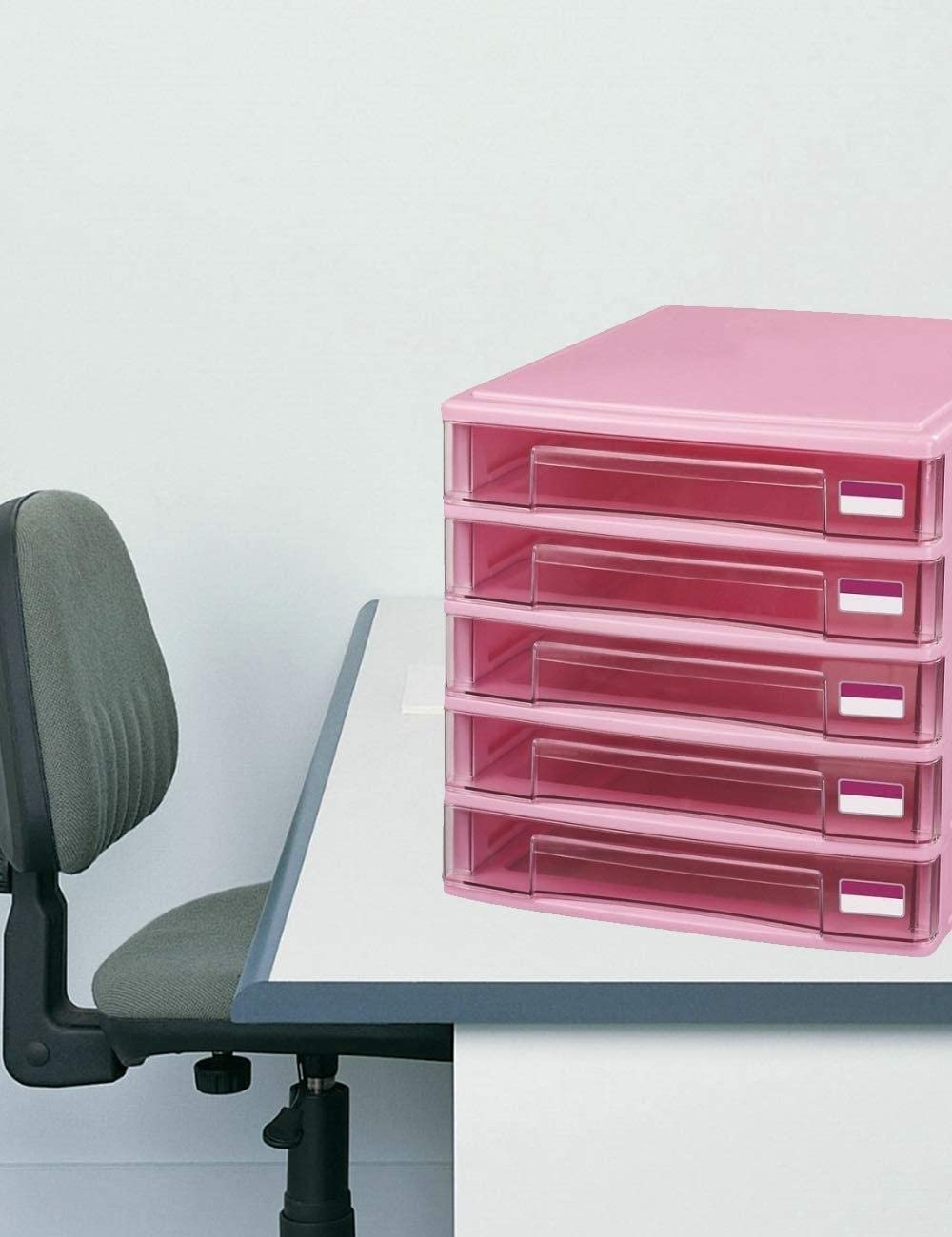 Pink Office File Manager Locker Desktop Manager Home Office Furniture Office Supplies Color : A File cabinet File Cabinets 5 Drawers Innovation Charming Design Gray