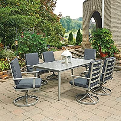 Home Styles 5700-315 7 Piece South Beach Rectangle Outdoor Dining Set, Gray - Crafted of solid and extruded aluminum, with Grey powder coated painted finish, providing years of maintenance free usage 6 contemporary contoured Slat back designed swivel Rocking chairs, with extended wide arms for comfort and added support and cast aluminum swivel bases for added stability The ideal Dining Table for entertaining 6 People in great comfort, with a center umbrella hole; hole cap included when not in use - patio-furniture, dining-sets-patio-funiture, patio - 61g4dZ4jdmL. SS400  -