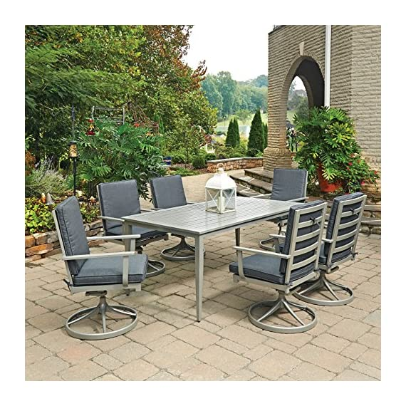 Home Styles 5700-315 7 Piece South Beach Rectangle Outdoor Dining Set, Gray - Crafted of solid and extruded aluminum, with Grey powder coated painted finish, providing years of maintenance free usage 6 contemporary contoured Slat back designed swivel Rocking chairs, with extended wide arms for comfort and added support and cast aluminum swivel bases for added stability The ideal Dining Table for entertaining 6 People in great comfort, with a center umbrella hole; hole cap included when not in use - patio-furniture, dining-sets-patio-funiture, patio - 61g4dZ4jdmL. SS570  -