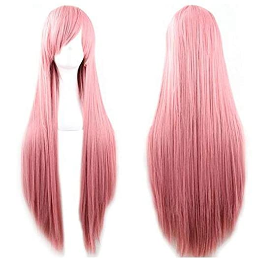 5611f60587e Rbenxia 32   Women s Cosplay Wig Hair Wig Long Straight Costume Party Full  Wigs Pink