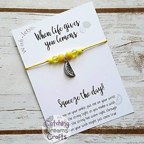 Wish Anklet Wish-let Friendship Bracelet WHEN LIFE GIVES YOU LEMONS - Beaded Wish Bracelet Wish Bracelet