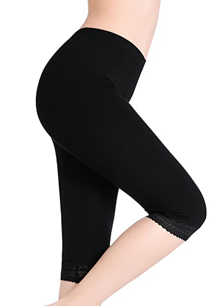 5555cabf91b1 CnlanRow Damen Capri Leggings Kurz Spitze Unterrock Shorts - Bequem  Elastisch Leicht