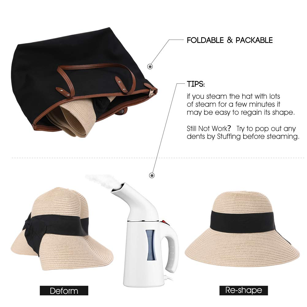 36a2bac66 Packable UPF Straw Sunhat Women Summer Beach Wide Brim Fedora Travel Hat  54-59CM