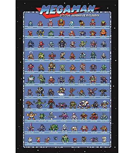 Mega Man 25th Anniversary Retro Style Poster - All Robot Masters 1-10 + More Rock Man