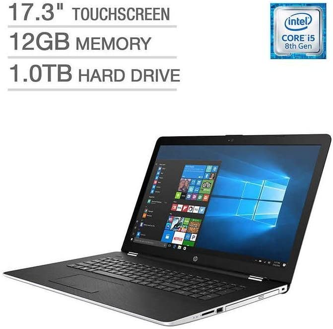"HP 17 17.3"" Touchscreen WLED-backlit HD+ Laptop Computer, Intel Quad-Core i5-8250U (Beat i7-7500U)up to 3.40GHz, 12GB DDR4, 1TB HDD, AMD Radeon 530, DVD, USB 3.1, HDMI, 802.11ac, Bluetooth, Windows 10"