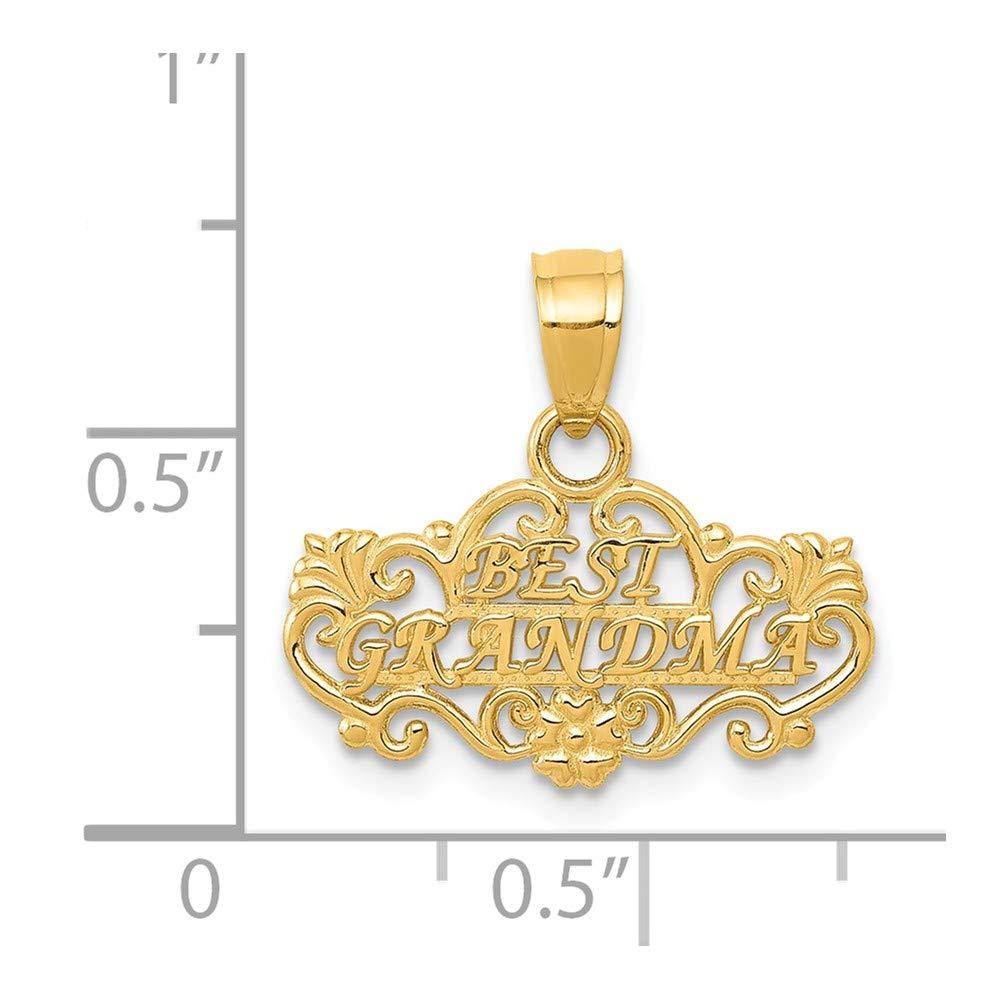 16mm x 17mm Mia Diamonds 14k Solid Yellow Gold Best Grandma Pendant