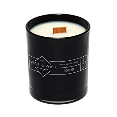 Scented Soy Candle: 100% Pure Soy Wax with Wood Double Wick | Burns Cleanly up to 60 Hrs | Forest Scent with Notes of Bergamot, Neroli, Jasmine | 12 oz Black Jar by Wax and Wick