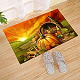 interesting front patio decor ideas JANNINSE Crystal Emotion Thanksgiving Home Decor Small Doormat, Animated Pumpkin Fruit Thanksgiving Idea, Shoe Cleaner Car Washable Carpet, Interesting Front Entrance, Patio Door, Yellow Green