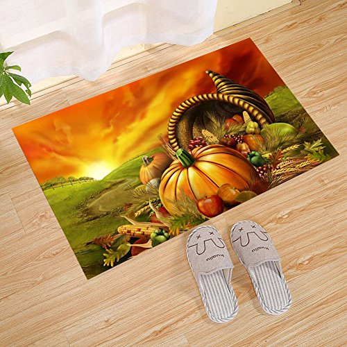 JANNINSE Crystal Emotion Thanksgiving Home Decor Small Doormat, Animated Pumpkin Fruit Thanksgiving Idea, Shoe Cleaner Car Washable Carpet, Interesting Front Entrance, Patio Door, Yellow Green