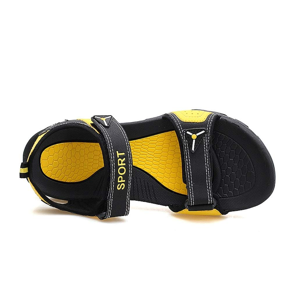 Black yellow MUJUN Fashion Summer Elegant Beach Sandals for Men and Women Leisure Outdoor  Water shoes Slip On Style PU Leather Hook&Loop Strap Match colors (color   Brown bluee, Size   6.5 M US)