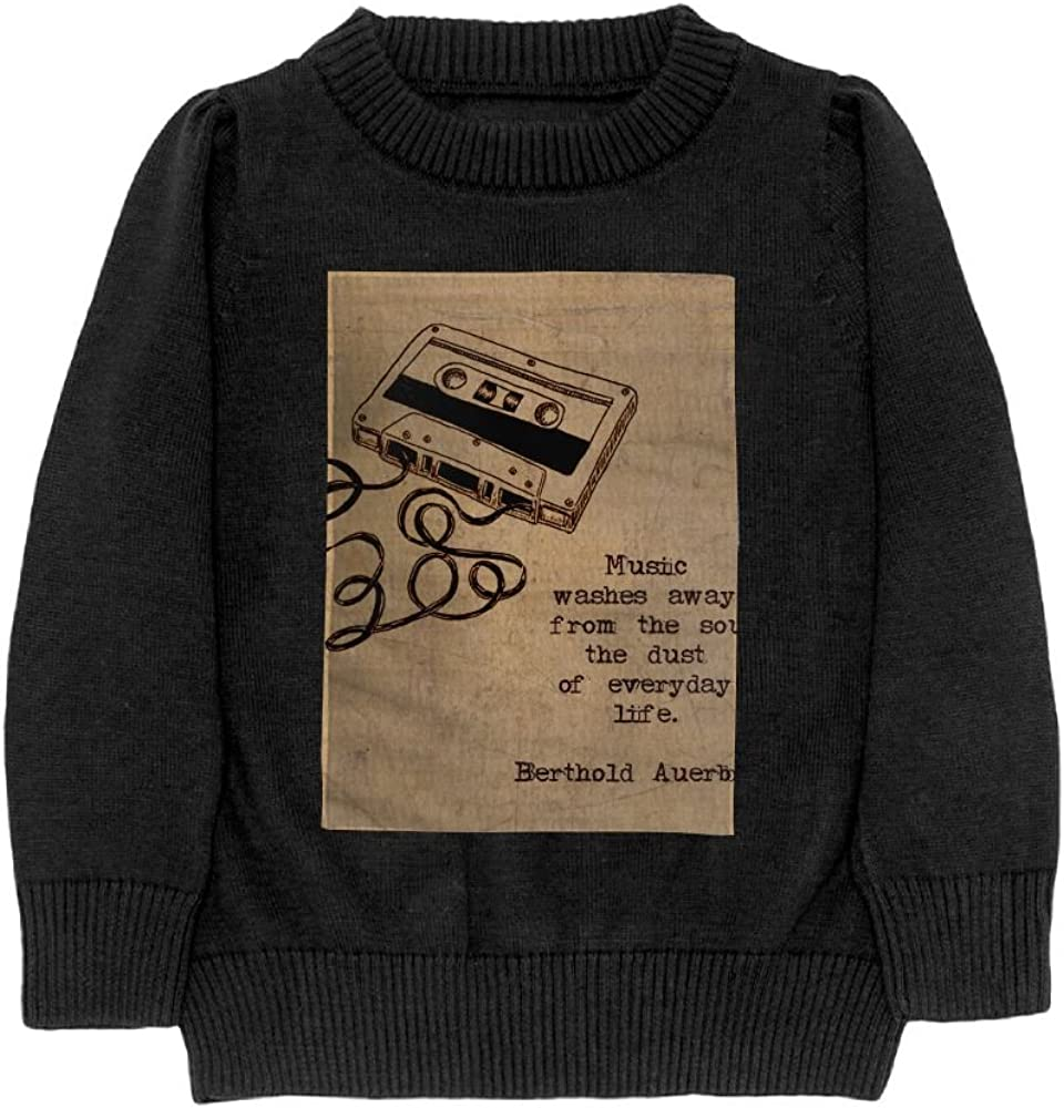 DTMN7 I Love Music Teens Sweater Long Sleeves Crew-Neck Youth Athletic Casual Tee Junior Boys