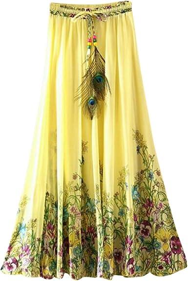 OuYou Mujer Faldas Largas Verano Playa Elegantes Vintage Boho ...