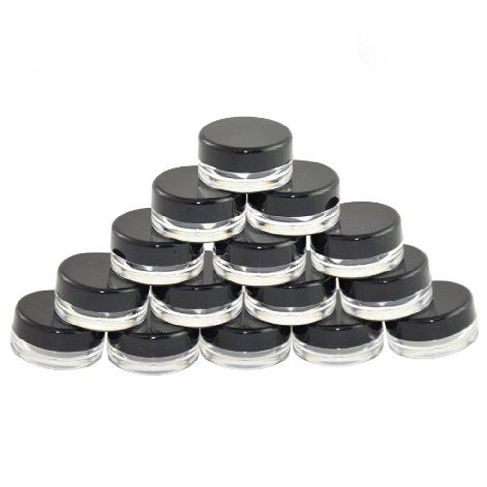 Lucky Will 3 G vacía clara negro plástico cosméticos contenedores Pot Tarros con tapas para cremas muestra con purpurina de almacenamiento, 100 Pcs