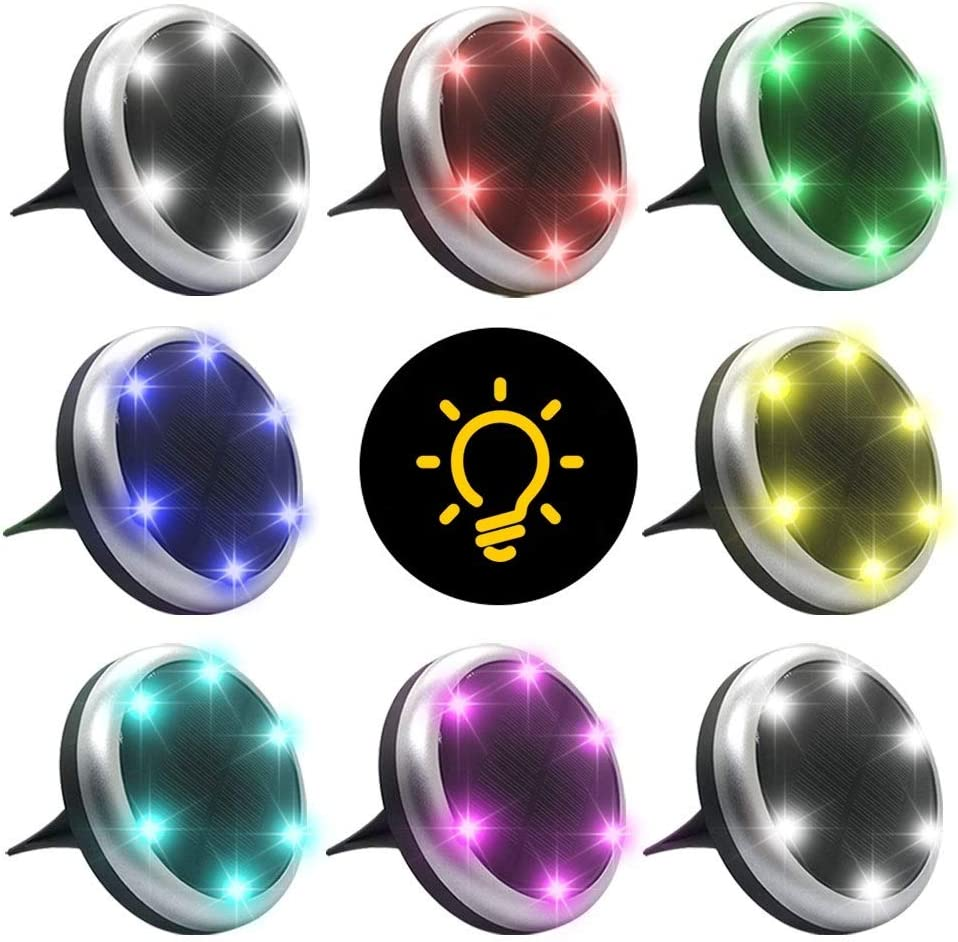 Ltybri Solar Ground Lights Color Change Outdoor Solar In Ground Lights Outdoor 7 Color Disk Lights Outdoor Solar Garden Landscape Lights for Yard, Patio, Pathway, Walkway (8 Packs)