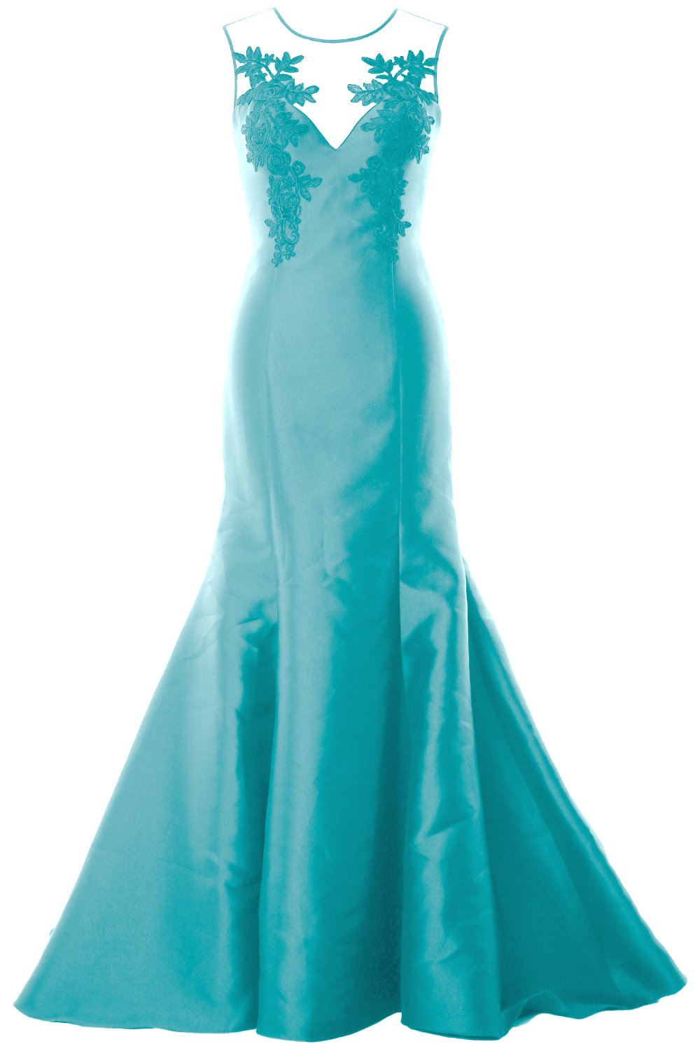 MACloth Women Mermaid Evening Gown Straps Illusion Lace Satin Formal Party Dress (18w, Turquoise) by MACloth