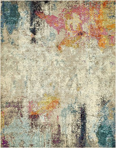 Island Collection Modern Contemporary Rugs Living Dinning Bedroom Area Rug 8' x 10', Beige (Gray And Rugs Gold Area)