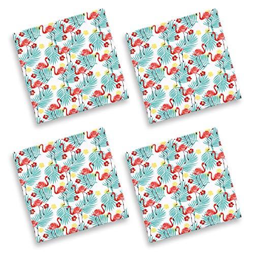 Cackleberry Home Tropical Flamingo Cotton Fabric Napkins 17 Inches Square, Set of 4 (Flamingo Coral)