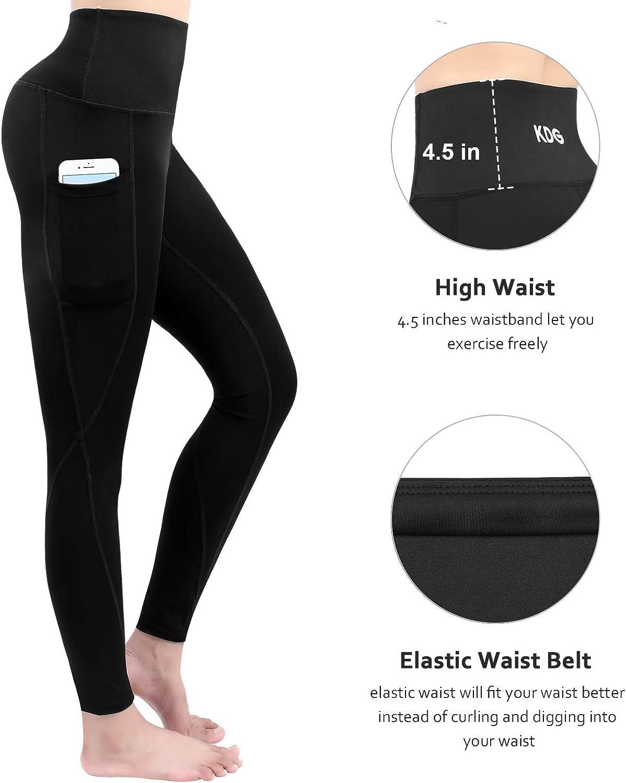 Naked Feeling Leggings 4 Way Stretch Yoga Leggings for Women Black KDG High Waist Yoga Pants,Tummy Control Workout Running Pants