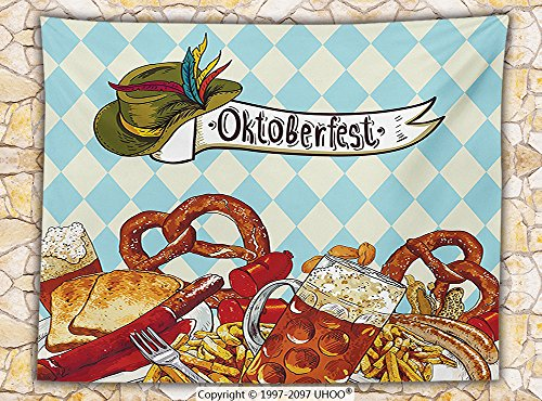Oktoberfest Decorations Fleece Throw Blanket Bread Pretzel Carnival Partying Germany Costume Cheerful Festival Illustration Throw Brown Blue
