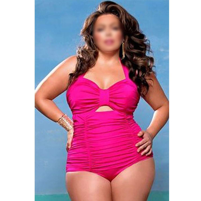 606078338f3 Amazon.com  New Swimwear Women One Piece Swimsuit Solid Swimwear Large Size  Vintage Retro Swimsuit Bathing Suits  Clothing