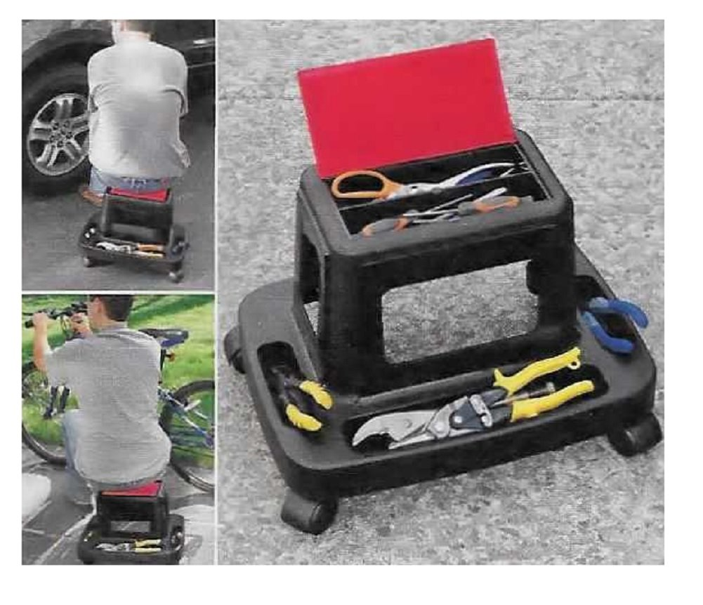 Trenton Gifts Mechanic Rolling Work Seat | Work Seat Storage | Ideal For Car Repair, Gardening, Plumbing and More | 17 1/2'' L X 12'' W X 13'' H