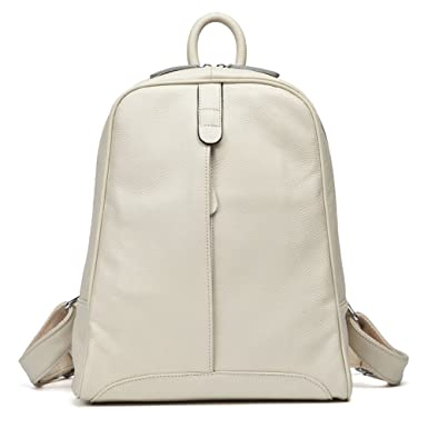 Amazon.com  DHL Delivery Fashion Genuine Leather Backpack Women Laptop  Casual Knapsack Travel Girls Beige  Clothing e649e5c70d6fb