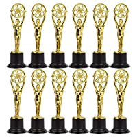 Pack of 12 Mini Award Trophies - Plastic Trophy - Trophies for Kids - Great for Teachers, Gold, Black