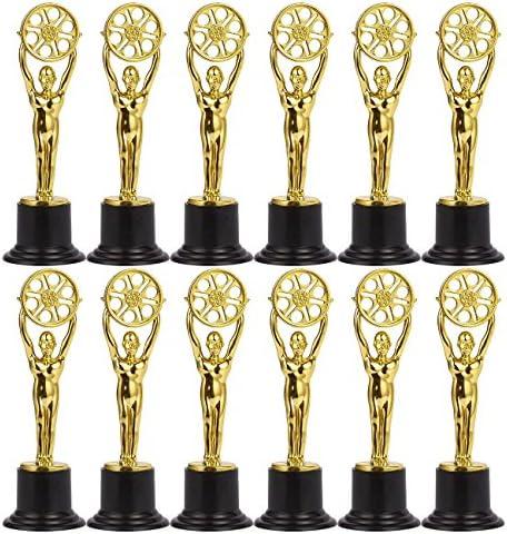 Juvale - Juego de 12 trofeos de plástico para niños, ideal para profesores, color dorado y negro.: Amazon.es: Deportes y aire libre
