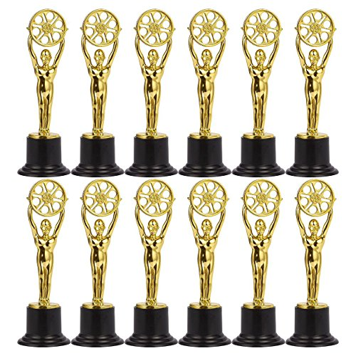 Juvale Pack of 12 Mini Award Trophies - Plastic Movie Film Buff Trophy - Trophies for Kids - Great for Teachers, Gold, Black
