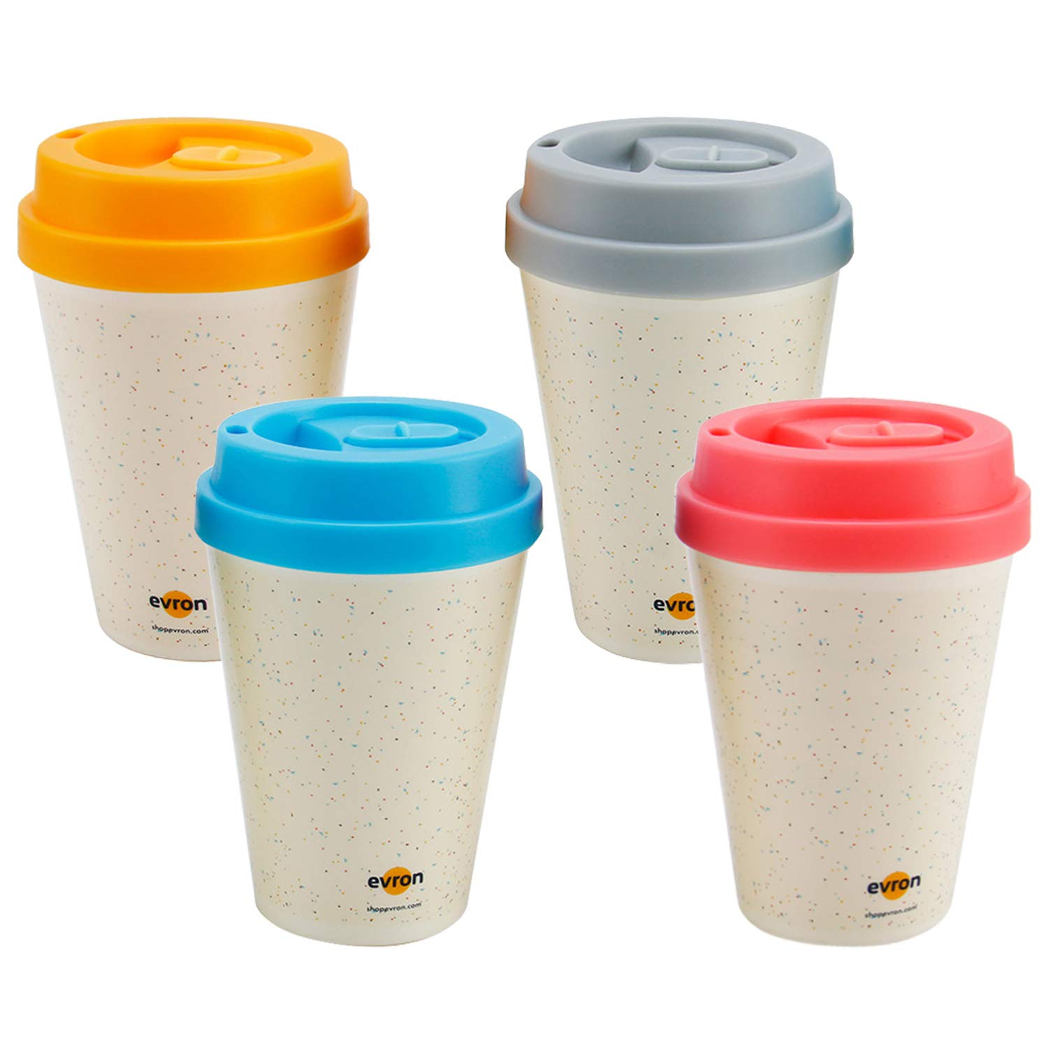 Spill Proof Coffee Mugs with Anti-Leak Locking Lid, Insulated Double-Wall for Hot and Cold Drinks (10oz 4 Pack)