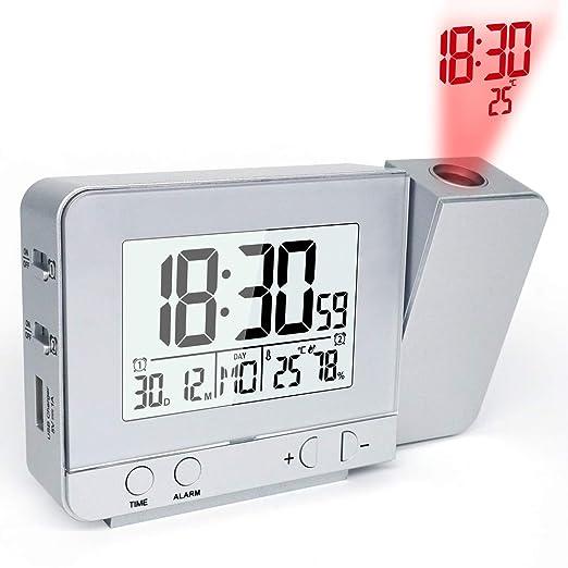 MAMASAM Despertador proyector Reloj Alarma Digital Fecha ...