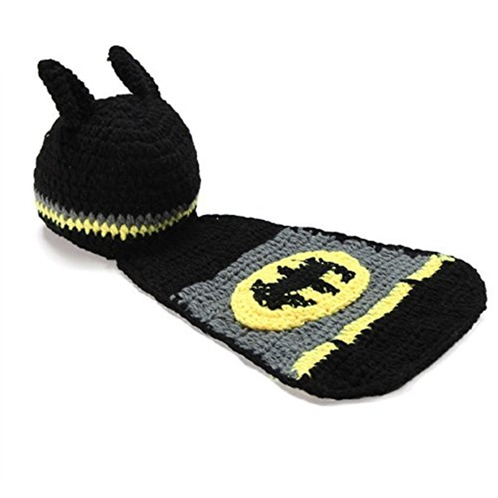 Pinbo Newborn Baby Boy Crochet Batman Hat Cape Set Costume