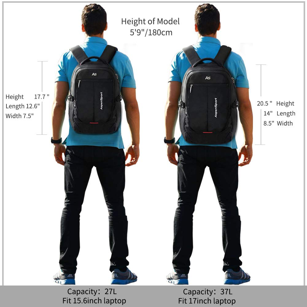 ASPENSPORT Laptop Backpack Fit 15.6 Inch Computer College Student Bookbag Big Business Travel Waterproof Durable Daypack for Men and Women Black by ASPEN (Image #7)