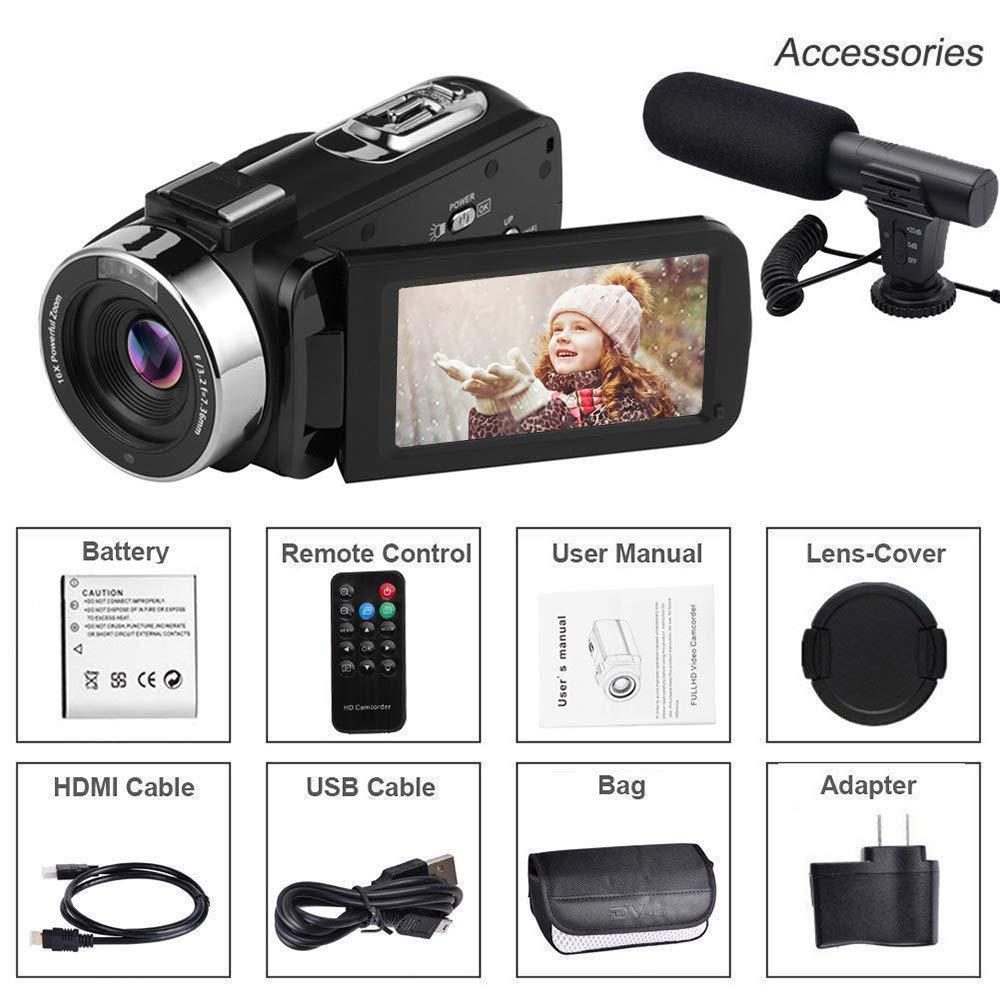 "SEREE Video Camera Camcorder Full HD 1080p Digital Camera 24.0MP 18x Digital Zoom 3.0/"" LCD 270/° Rotation Screen With Remote Control"