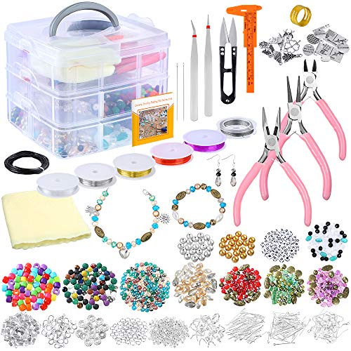 PP OPOUNT Deluxe Jewelry Making Supplies Kit with Instructions Includes Assorted Beads, Charms, Findings, Bead Wire and Cord, Pliers, Caliper and Storage Case for Necklace, Bracelet, Earrings Making ()