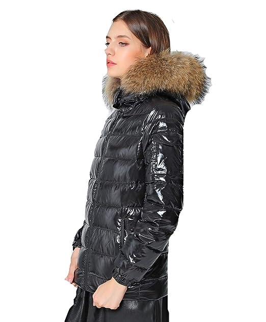 Lea Marie Damen Daunenjacke XXL Kragen aus 100% ECHTPELZ ECHTFELL Jacke (S)
